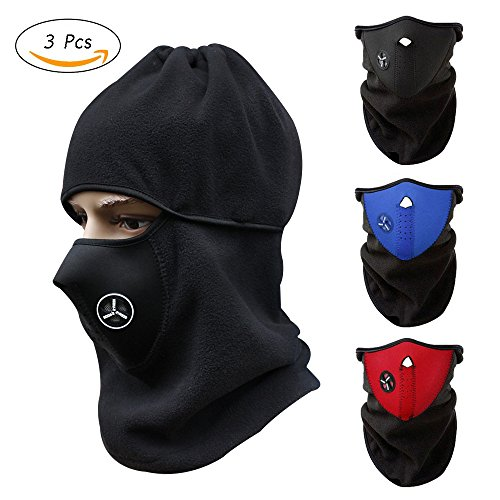 stonges 3PCS Unisex Winddicht Hälfte Gesicht Maske Winter Warm Hals mit Air Löcher für Outdoor Sport, Radfahren, Motorrad, Laufen, Klettern (rot + blau + schwarz) Winter Motorrad Gesicht Maske