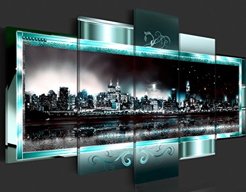 Bilder 200×100 cm – 3 Farben zur Auswahl ! XXL Format! Fertig Aufgespannt TOP Vlies Leinwand – 5 Teilig – New York Abstrakt Wand Bild Bilder Kunstdrucke Wandbild 020111-29 200×100 cm B&D XXL - 3