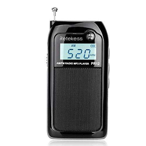 Retekess PR12 Pocket Radio AM FM Transistor Radio DSP Tuning Support SD Card and Rechargeable Battery (Black)