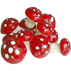 Gosear 50 piezas Mini Seta Punto de Ornamento de Jardín Paisaje Micro Planta Decoración con Palo para Accesorios de Decoración,Rojo