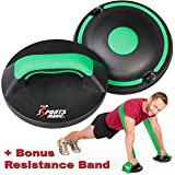 Sports Magic Core + Push Up Bar Twisters with Bonus Elastic Band & 2 Detachable Dome Plates - 5 ITEM PACK. Rubber Handles, Perfect Smooth Rotation Pushup Bars. Complete Fitness Gym for Upper Body, Abs, Arms, Fat Burning, Toning and Muscle Building.