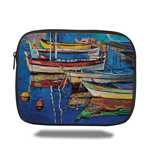 Tablet Bag for Ipad air 2/3/4/mini 9.7 inch,Country Decor,Mod Folk Art Style Paint of Boats on The Shore at Golden Sunset Cruising by The Sea Print,Multi -