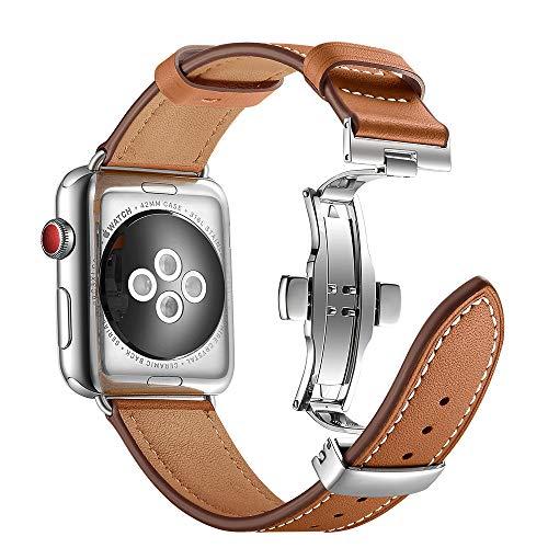 Aottom Kompatibel mit Apple Watch 42mm 44mm Armband Leder,Lederarmband Apple Watch Series 5 Serie 4 Echtleder Armbänder Ersatzband iWatch 42mm Series 3 Gliederarmband für Apple Watch Series 5/4/3/2/1