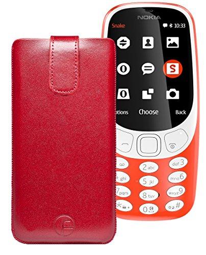 Original Favory Etui Tasche für Nokia 3310 (2017) | Leder Etui Handytasche Ledertasche Schutzhülle Case Hülle Lasche mit Rückzugfunktion* in rot