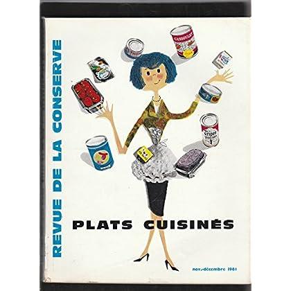 La revue de la conserve : viandes, légumes, fruits, poissons [No 7 nov.-décembre 1961] Plats cuisinés