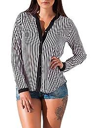 24brand Sexy Damenbluse Chiffon-Look Bluse langarm Shirt durchschimmernd mit Knopfleiste gestreift - 3081