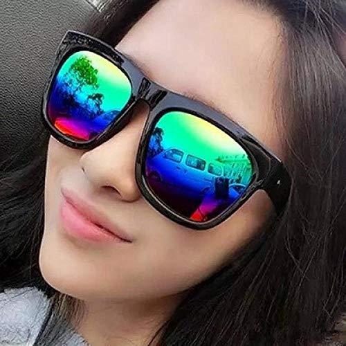 Aviator Sonnenbrille großen Rahmen Spiegel Männer und Frauen Sonnenbrille reflektierende Brille hell schwarz und grün Film Sammlung Brillentasche Tuch, hell schwarz bunte Sammlung Brillentaschen + Tu