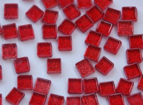 Bazare Masud e.K. 100 St. Softglas- Mosaiksteine Glitzer 1x1cm rot Glitter Mosaik ca. 85g (4,69 €/100 g) -
