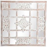 Dcasa - Mural de espejo árabe beige de madera tallado .