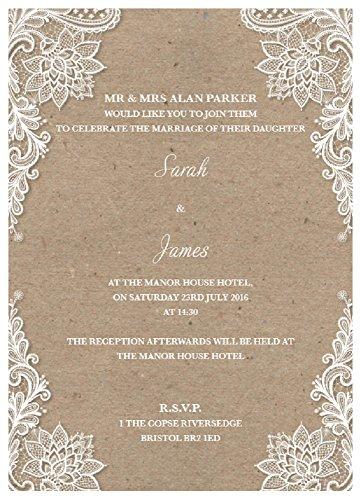 Alta calidad personalizada invitaciones de boda Vintage Lace, color marrón