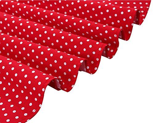 Bbonlinedress Robe femme de cocktail Vintage Rockabilly Robe plissée au genou sans manches col carré Rétro Red Small White Dot