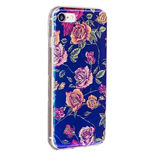 iPhone 7 Coque Transparent Tpu,iPhone 7 Étui en Silicone Mince avec Motif,JAWSEU [Double Face]Luxe Coloré Placage Cristal Clair Souple Gel Housse Etui de Protection,Bling Sparkle Case CLear Silicone T bleu/fleur9
