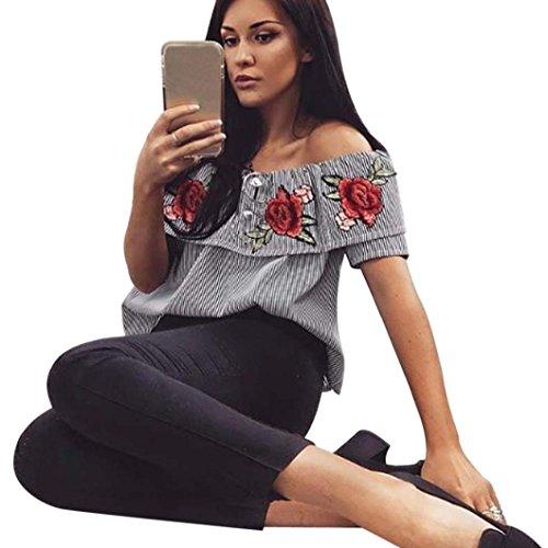 Damen Bluse Internet Bestickte T-Shirt Kurzer Hülsen Schrägstrich beiläufige Bluse (XL, schwarz) (Shirt Bestickte Jersey Sport)
