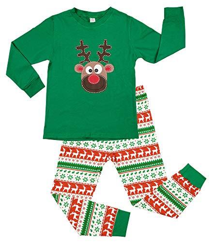 Charmo Weihnachten Schlafanzug für Kinder Mädchen Jungen Baumwolle Kleidung Kinder Langarm Pjs Kleinkind Nachtwäsche Hosen Set Grün 3 Jahr
