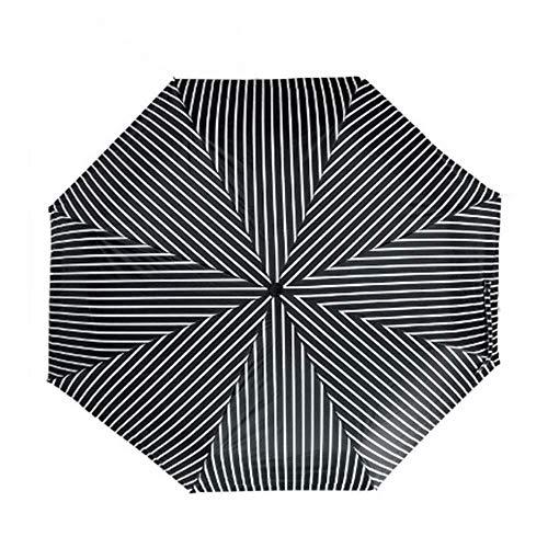 BBQBQ Sonnenschirm Dreifachgefalteter Automatikschirm aus schwarzem Kunststoff mit schwarzen Streifen -