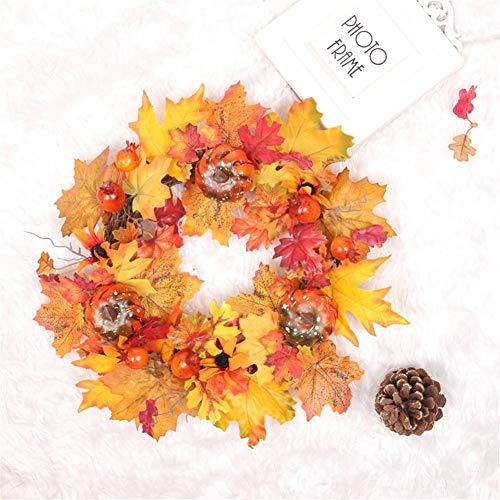 40cm Herbstkranz Haustür DIY Tannengirlande Girlande mit Kürbis Beeren Künstlich Blumen Türkranz Deko für Herbst Thanksgiving Weihnachten Party