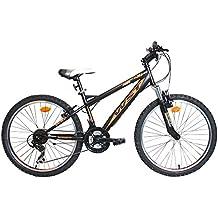 "WST BTT Sniper Bicicleta Montaña, Niños, Negro/Naranja, 24"""