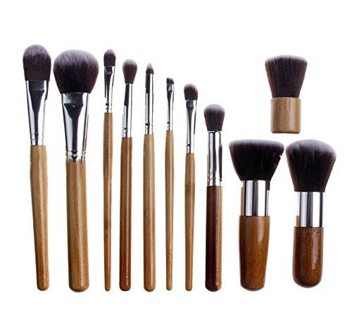 niceeshop(TM) Kit de 11 Pcs Professionnelles Brosses de Maquillage pour Lèvre et Yeux avec Sac de Rangement, Beige et Argente