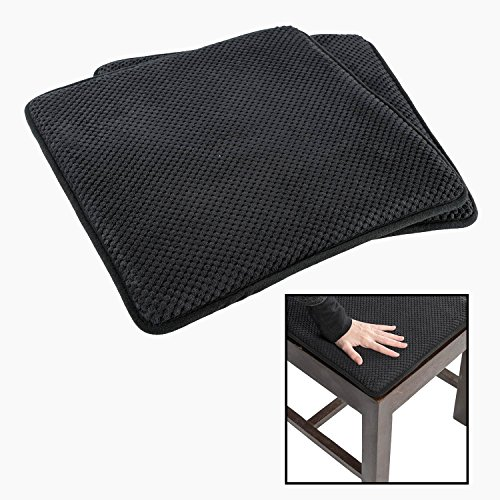 Set of 6 100/% Cotton Chair Pads with Straps 40x40 cm Homescapes Black and White Seat Pads for Dining Chair