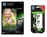 HP 301 pack de 2 cartouches d'encre noire/trois couleurs authentiques (N9J72AE) + CR757A Papier photo 100 feuilles 200 g 10 x 15 cm Brillant