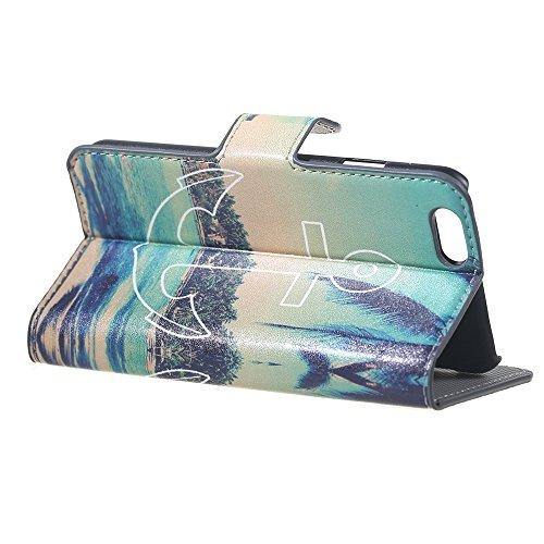 iPhone 6 6S Coque,COOLKE Flip Coque Fashion Painted Pattern Cover de Etui Housse de Protection Étui à rabat Case pour Apple iPhone 6 6S (4.7 inches) - 014 004
