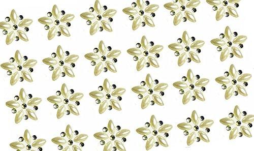 48x selbstklebende Ivory Pearl und ab Diamant Blume Verzierung Acryl Strass Cluster Kristalle Stick auf Gems