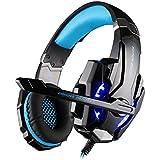 multifun G9000 Gaming Kopfhörer PS4 3,5mm Stereo Gaming Headset PC mit LED Licht Mikrofon In-line Lautstärkeregler für PC, Playstation 4, Tablet, Smartphone. Schwarz und Blau mit Verpackung