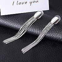 FEFEFEF Earring Women Long Tassel Earrings Fancinating Earrings Jewelry Alloy Earring Personalized Shiny Gorgeous,Silver
