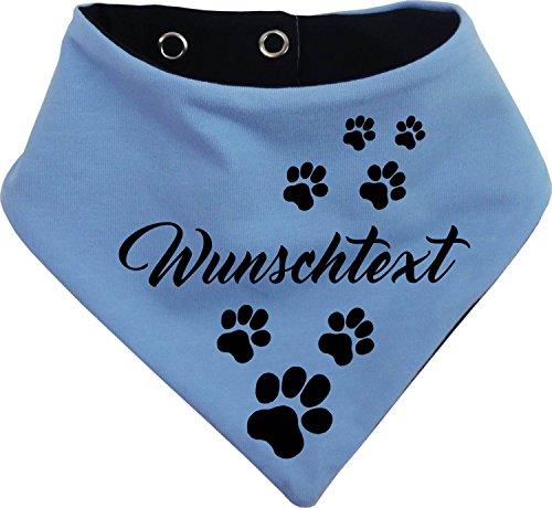 KLEINER FRATZ beidseitiges Multicolor Hundehalstuch Wendehalstuch für Hund/Katze Dog Pet Tuch Ihrem Wunschtext (Gr.3 - Halsumfang 36-42 cm, hellblau-marine)