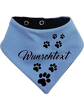 KLEINER FRATZ beidseitiges Multicolor Hundehalstuch Wendehalstuch für Hund/Katze Dog Pet Tuch Ihrem Wunschtext...