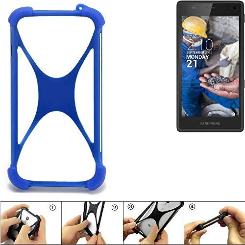 k-s-trade® paraurti per cellulare fairphone fairphone 2 paraspruzzo in silicone custodia cover bumper per astuccio tpu softcase protector blu (1x)
