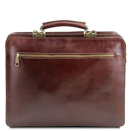 Tuscany Leather - Venezia - Aktentasche aus Leder 2 Fächer Dunkelbraun - TL141268/5 Schwarz