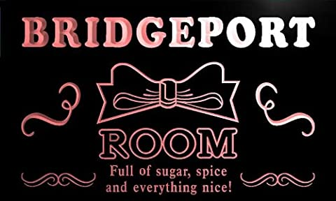 pe2218-r Bridgeport Personalized Girl Room Ribbon Hang Out Neon Light