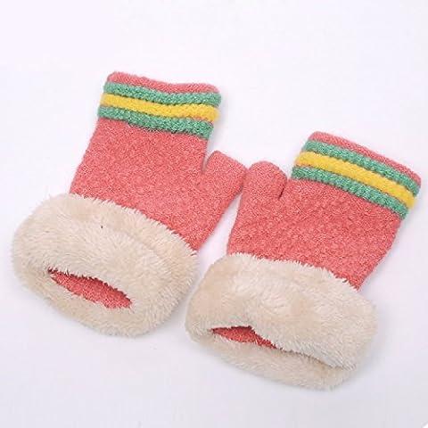 KHSKX Guanti coreano donne inverno carino studente maglia felpato caldo inverno lana senza dita GUANTI A MEZZE DITA guanti,Cocomero rosso
