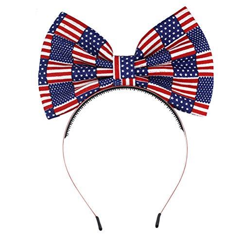 Amosfun Bogen-Stirnbandbabyhaarband der amerikanischen Flagge 4. Juli Kostüm Bandana für Unabhängigkeitstag
