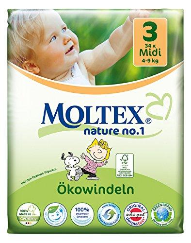 Preisvergleich Produktbild Moltex Nature No. 1 Ökowindeln, Größe 3 (Midi), 4-9 kg, (1 x 34 Windeln)