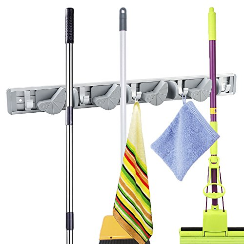 Mop- und Besenhalter, Wandmontage, rutschfest, Wandaufhängung mit Haken für Rechen, Garten, Sportausrüstung, Garage Aufbewahrung (4 Positionen 5 Haken)
