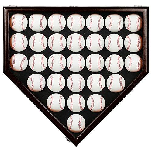 30 Baseball Display Case Gehäuse mit abschließba UV Schutz, Case Halter Shadow Box Wand Schrank-UV-Mahagoni,Vitrinen Schrank Shadow Box