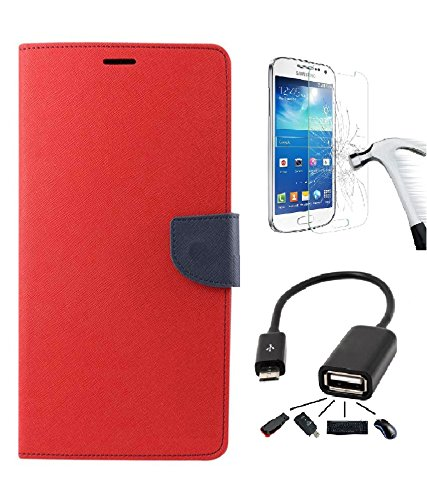 DENICELL Royal Dairy Style Flip Cover For MICROMAX CANVAS NITRO 2-E311 (CANDY RED with TEMPERED GLASS,OTG)