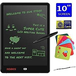NOBES Tablette d'écriture LCD 10 Pouces, Ardoise Magique Tableau, LCD Écriture Tablette Dessin électronique, Doodle Pad, Jouets Éducatif   pour Enfants,Bureau,école,Maison,etc. (Noir)