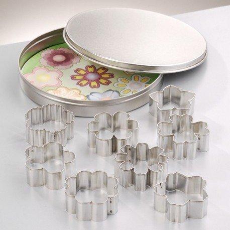 Emporte-pièces en inox, 9 Fleurs, de 4,5 cm à 5 cm