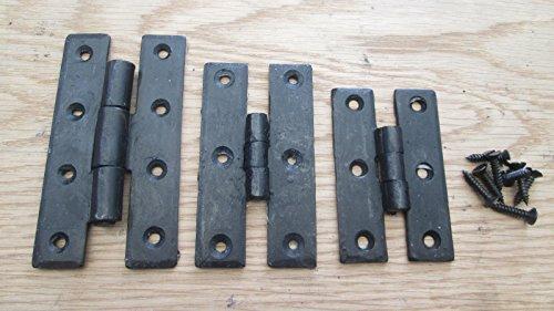 Ironmongery World® Schwarz Wachs Hand geschmiedet Hufschmied Gusseisen H Scharnier Schrank Tür Scharnier Old Vintage Style (10,2cm) -