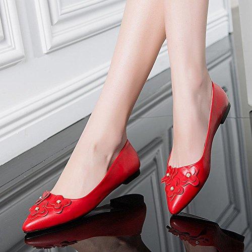 Fechado Chinelo Dedo Vermelha Sasa Abusadas Com Apontado Apartamento Mulheres Flor wYg4OEqx
