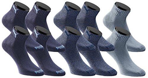Passen 2 Paar Pack (Puma Quarters Socken Sportsocken 10-Paar-Pack Unisex - Denim Blue - Gr. 43-46)