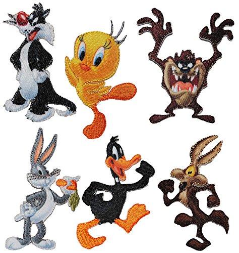 alles-meine.de GmbH 2 TLG. Set: Bügelbilder - Looney Tunes - Circa 5,4 cm * 7,4 cm - Tweety - Sylvester - Daffy Duck - Bugs Bunny - Coyote - Tasmanischer Teufel - Comic Figur - A..