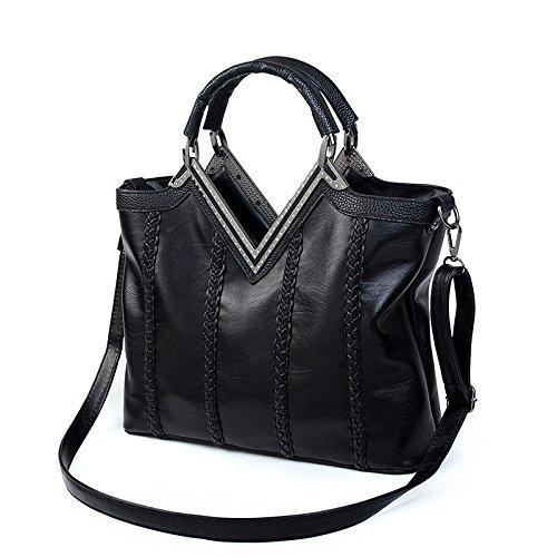 Mefly Borsette in cuoio nuova moda ventola di diamante in Europa Nero black