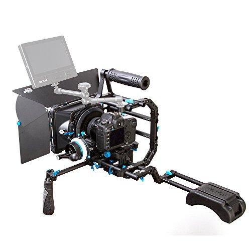 Fotga DP Serie DIY 15mm Standard-Rig Set Movie-Kit Film Making System: Follow Focus + Matte Box + Top-Griff mit C- Bracket + 15mm Schienen-Rod-Trägerplatte + Geschwindigkeit Crank Knob + Frontgriff + Z-Form-Bracket Schulterschutz für Nikon Canon Sony DSLR , Nach Hersteller verkauft direkt. (M3 Set) -