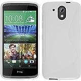 PhoneNatic Case für HTC Desire 526G+ Hülle Silikon weiß S-Style + 2 Schutzfolien