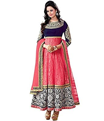 Jay Varudi Creation Women's Net Anarkali Dress Material (Mp987_Pink_Free Size) - Pink Wash Care : Dry Clean Or Hand Wash In Cold Water.