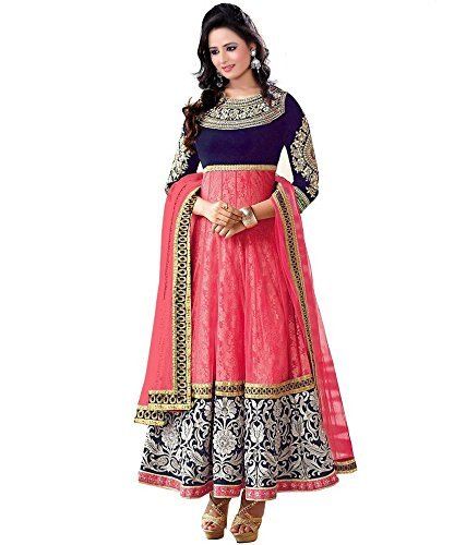 Jay Varudi Creation Women\'s Brasso & Net Anarkali Dress Material (Keval Pink 01_Pink_Free Size)